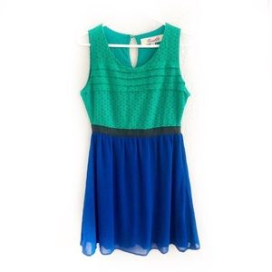 Anthro Emmelee Lace Pleated Color Block Dress M